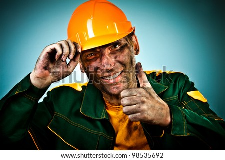 oil industry worker on blue background - stock photo