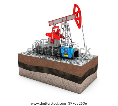 Oil Jack Pump over Ground with Money on a white background