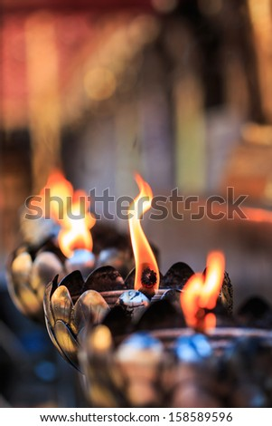 Oil lamp arranged in patterns Beautiful - stock photo
