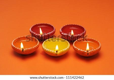 oil lamp in diwali,Beautifully Lit Lamps for the Hindu Diwali festival - stock photo