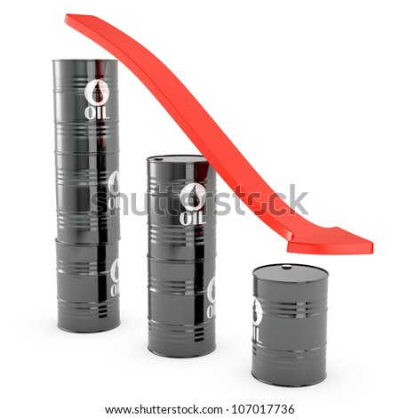Oil loss of price graphic, isolated on white background - stock photo