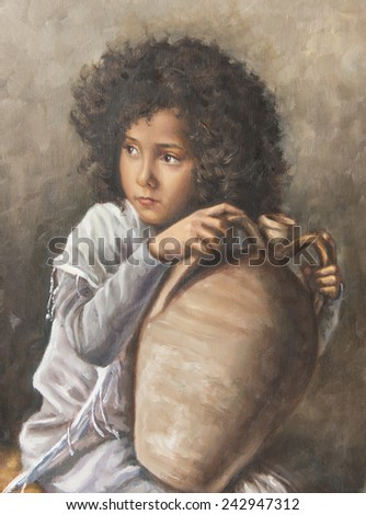 oil on canvas of a girl with a pitcher - stock photo