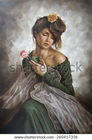 oil on canvas of a young woman with a flower in her hair and green dress - stock photo