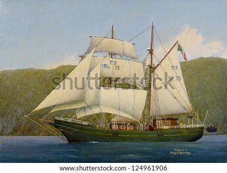Oil on canvas painting - Vessel in the sea - stock photo