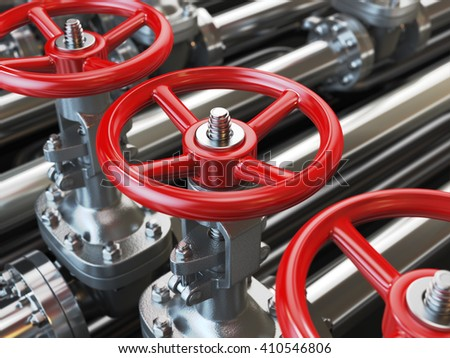 Oil or gas pipe line valves. 3d illustration - stock photo