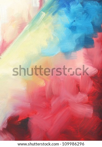 oil paint abstract figure sketch of bright colors on the canvas of a textured background - stock photo