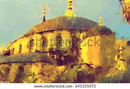 oil paint istanbul mosque - stock photo