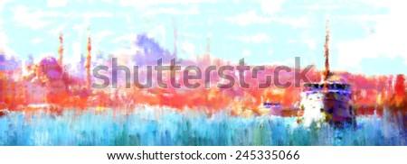 oil paint istanbul view bosphorus - stock photo
