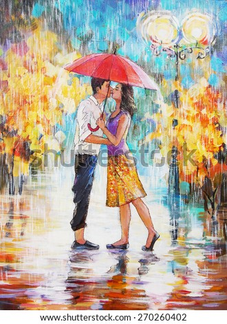 oil painting, a pair of lovers under an umbrella, valentines day			 - stock photo