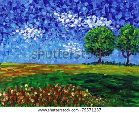 Oil Painting - Abstract Field - stock photo