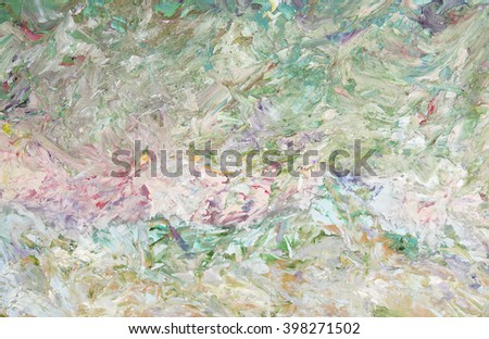 Oil painting abstract green background. Palette knife paint texture. Art concept.  - stock photo