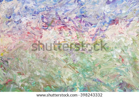 Oil painting abstract green blue background. Palette knife paint texture.  Art concept. - stock photo