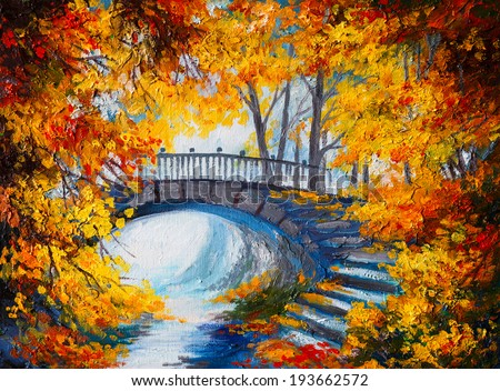 Oil Painting - autumn forest with a road and bridge over the road, bright red leaves  - stock photo