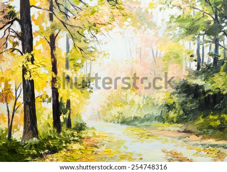 oil painting autumn landscape, road in a colorful forest, art work