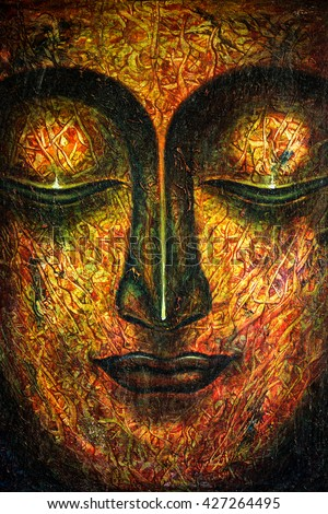 Oil Painting By Hand Buddha Face Stock Illustration 427264495