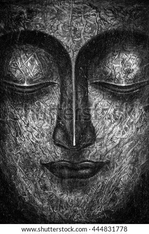 Oil Painting By Hand Buddha Face Stock Illustration 444831778