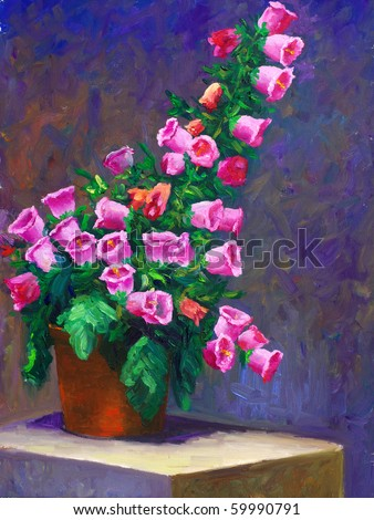 Oil-Painting - Canterbury bells - stock photo