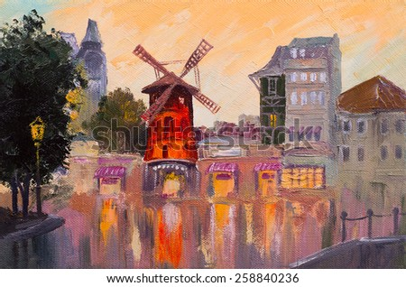 Oil painting cityscape - Moulin rouge, Paris, France. colorful art - stock photo