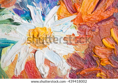 Oil painting, close up fragment with colorful flowers - stock photo