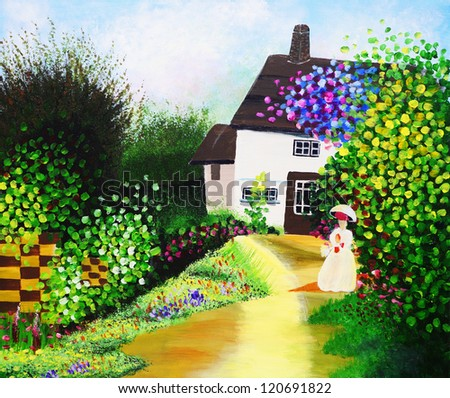 Oil Painting - Courtyard - stock photo