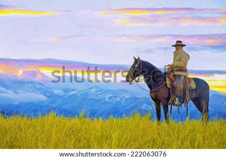Oil painting, cowboy on horseback mountain background - stock photo