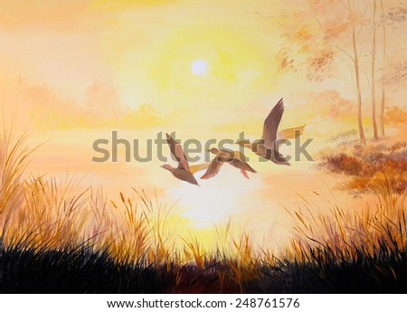 oil painting- Cranes at sunset - stock photo