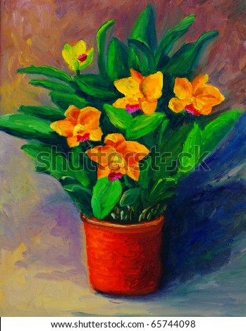 Oil Painting - Flowers in a Bottle (Narcissus) - stock photo