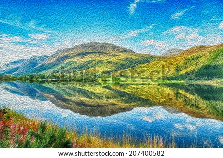 oil painting from a summers day in scotland - stock photo