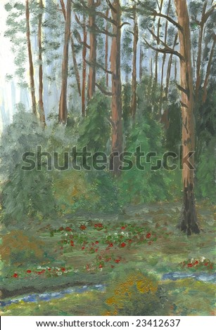 Oil painting hand drawn with dark pine forest - stock photo