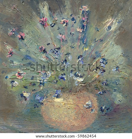 Oil Painting Impressionist Painting Vase Delicate Stock Photo