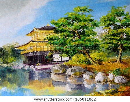 oil painting - Japanese garden, lake near the Japanese home, abstract drawing, executed in style of impressionism - stock photo
