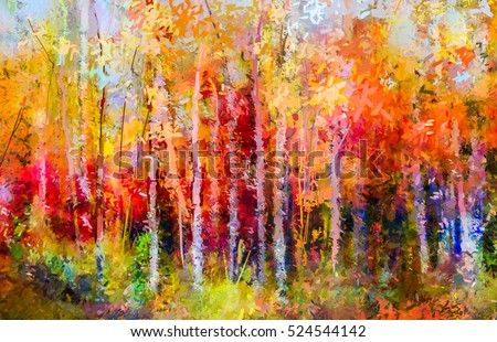 oil painting landscape colorful autumn trees semi abstract paintings image of forest aspen - Free Painting Pictures