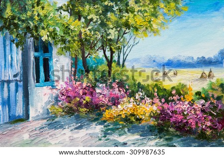 Oil Painting Landscape Garden Near House Stock Illustration