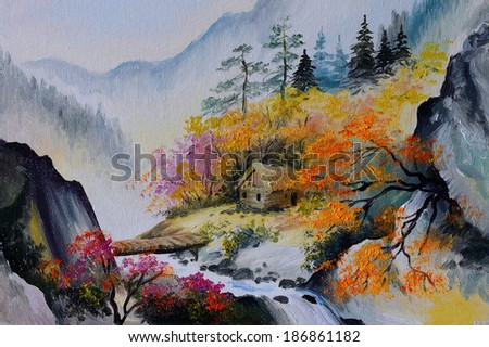 oil painting - landscape in mountains, house in the mountains  - stock photo