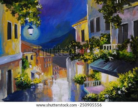 Oil painting landscape - street near the sea, night city, lanter - stock photo
