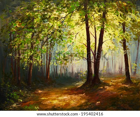 Oil Painting landscape - summer forest  - stock photo