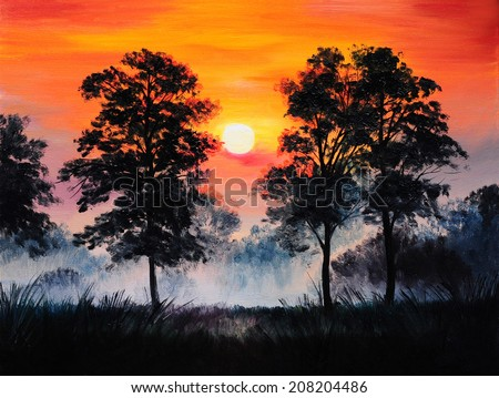 oil painting landscape - sunset in the forest, fog - stock photo