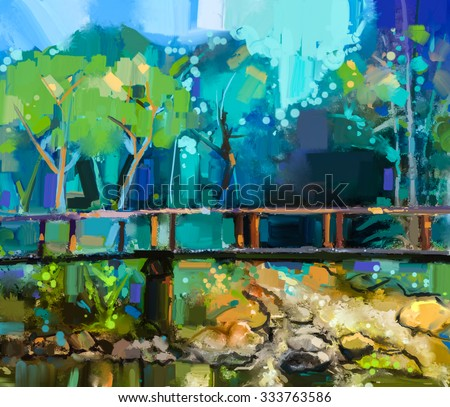 Oil painting landscape with wooden bridge over creek in forest.  Hand painted Colorful summer nature forest with yellow and green- blue color - stock photo