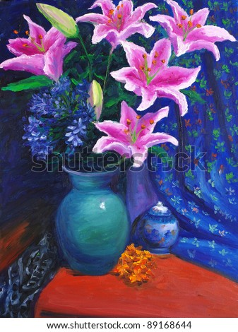 Oil Painting - Lily - stock photo