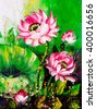 Oil Painting - Lotus - stock photo