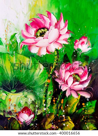 Oil Painting - Lotus