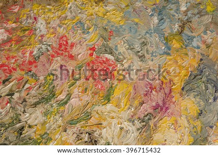 Oil painting multicolor background. Palette knife paint texture.  Art concept.