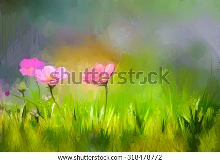 Oil painting nature grass flowers. Hand paint close up pink cosmos flower, pastel floral and shallow depth of field. Blurred nature background. Spring flowers nature background   - stock photo