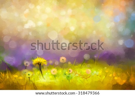 Oil painting nature grass flowers. Hand paint close up yellow dandelions, pastel floral and shallow depth of field. Blurred nature background.Spring flowers background with bokeh - stock photo