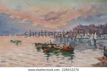 oil painting of a view of the coastal - stock photo