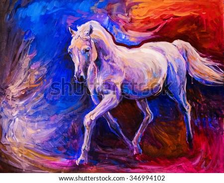 Oil painting of a white running horse. Modern art - stock photo