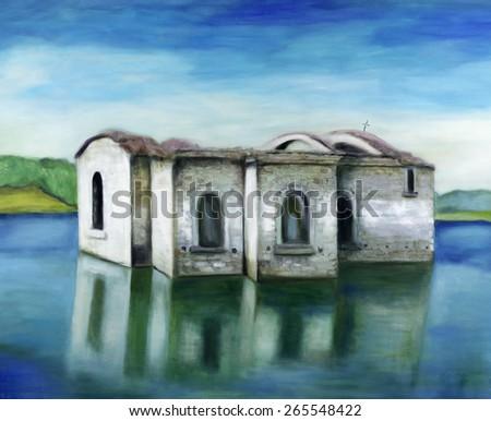 Oil painting of an ancient Orthodox church in Jrebchevo lake , Bulgaria. - stock photo