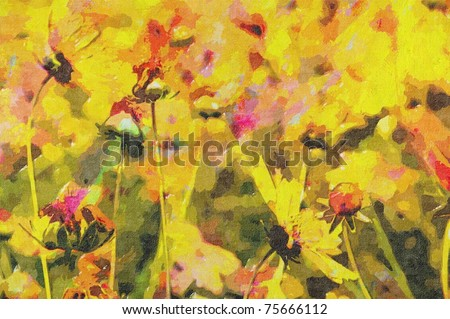 oil painting of country flower in field - stock photo