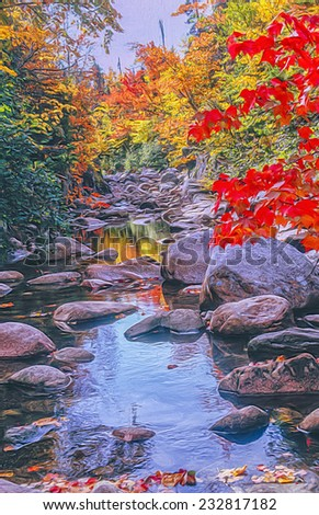 Oil painting of creek in autumn - stock photo