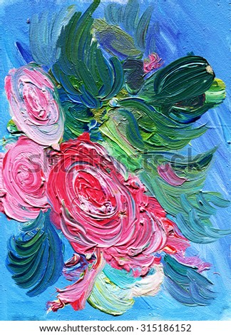 Oil painting of flowers, expressive style - stock photo